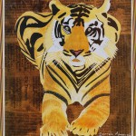 Seated Tiger on Newspaper